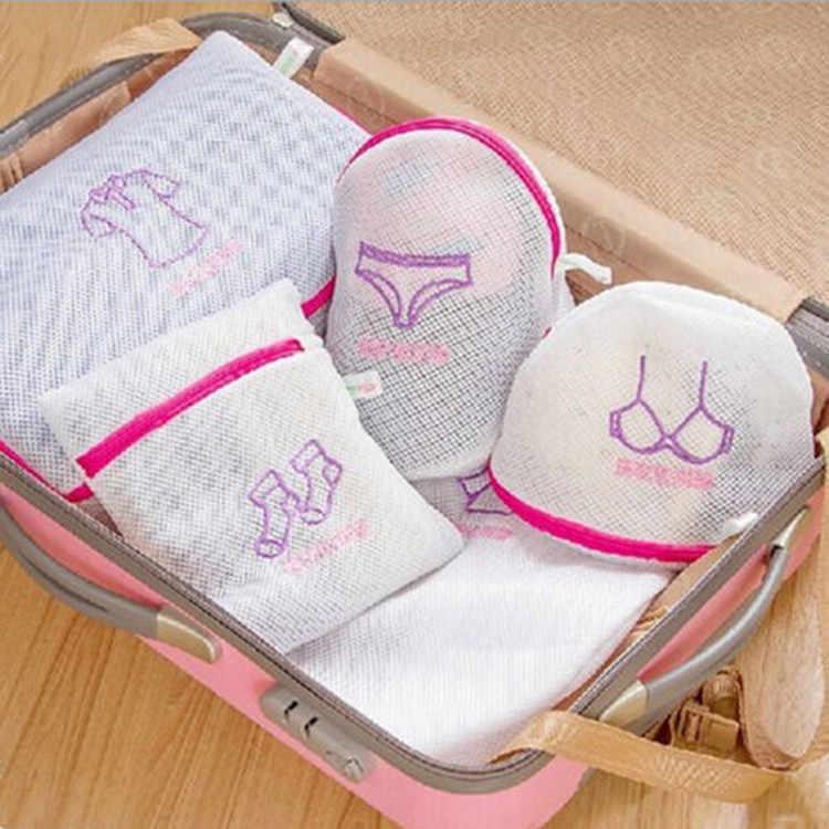 1 PC Du Lịch Phụ Kiện Túi Giặt Phụ Nữ Bảo Vệ Lưới Bag Giỏ Hàng Dệt Kim Áo Sơ Mi Vớ Giặt Đồ Lót Đồ Lót Rửa Túi
