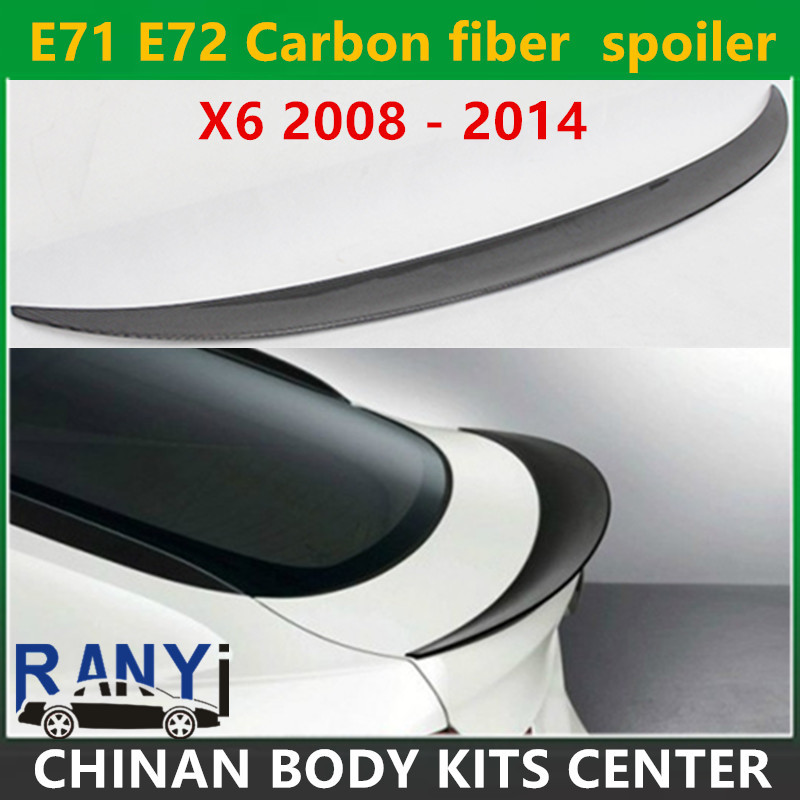 E71 E72 Carbon fiber Performance style spoiler rear trunk lip wings for BMW X6 2008 2014