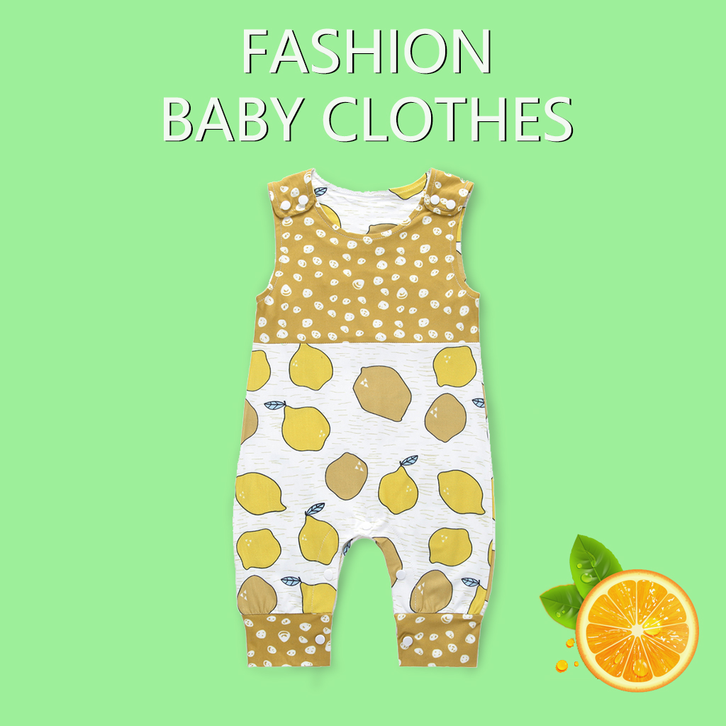 2019 New Baby Newborn Children Toddler Clothes Sleeveless Egg   Rompers   Kids Boys Girls Lemon Print Playsuit Animal Whale Jumpsuit