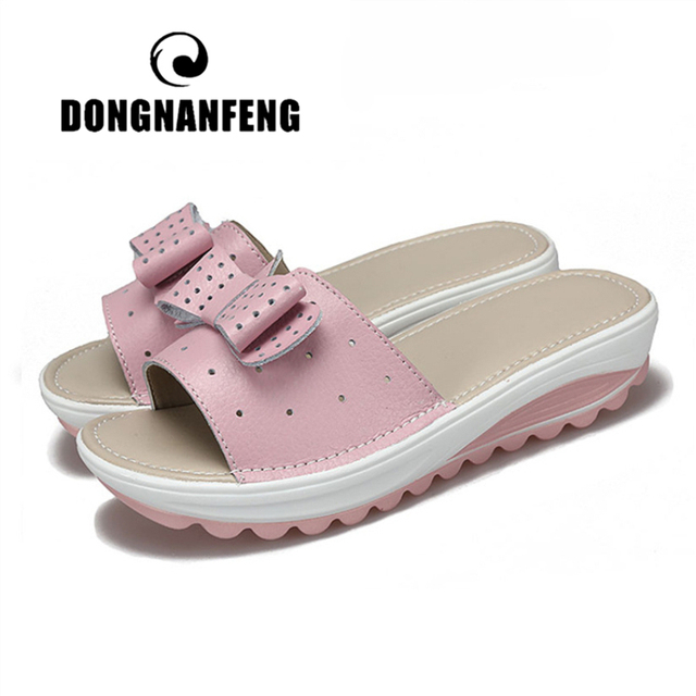 DONGNANFENG Women Female Ladies Genuine Leather Shoes Platform Sandals Slipper Outdoor Summer Cool Beach Bow 41 42 BLAC 1792