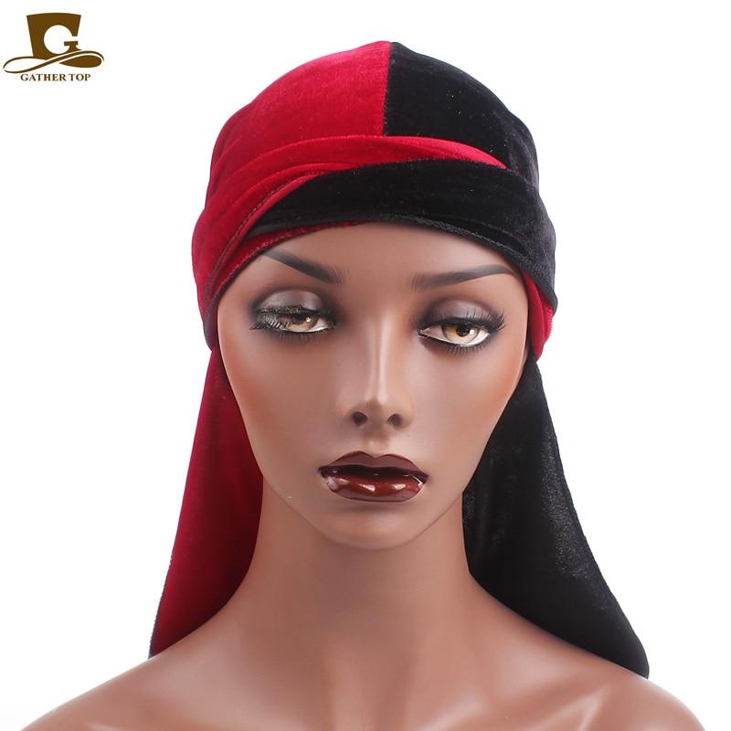 Baru Merenggang pria Beludru Durags Turban Bandana Topi Wig Setengah - Aksesori pakaian - Foto 2