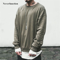 High Quality 2019 Autumn Oversized Wash Hole Ripped Sweatshirt Hooides men Streetwear Kanye WEST Hip hop Casual pullover