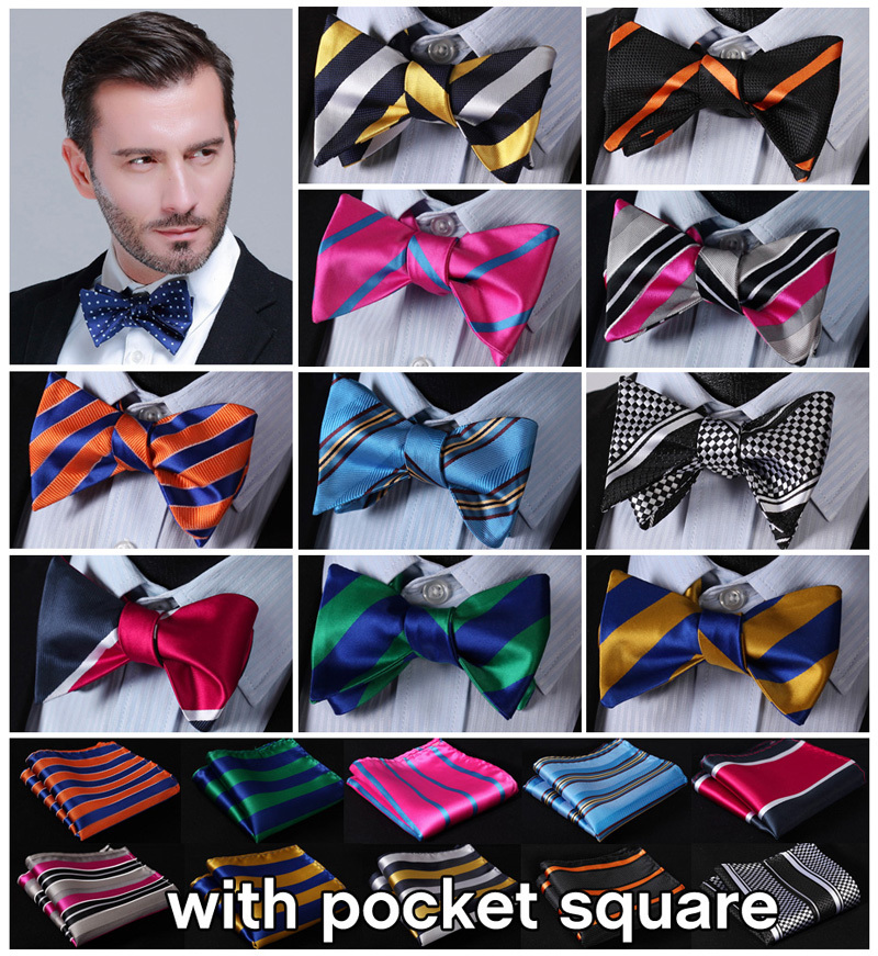 Striped 100%Silk Jacquard Woven Men Butterfly Self Bow Tie BowTie Pocket Square Handkerchief Hanky Suit Set #B6