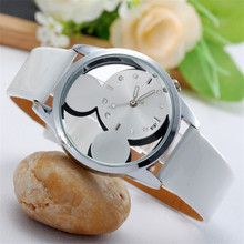 Relojes Mujer Basic New Style informal watches ladies Costume quartz watch Mickey hole dial leather-based wrist watch