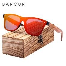 BARCUR lunettes de soleil pour homme et femme, monture carrée, polarisée en bois, monture lunettes de sport