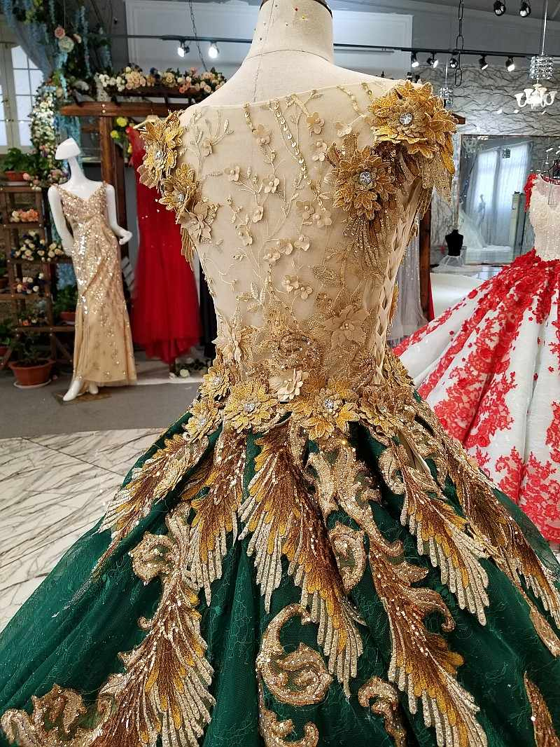 ceb421b63ca ... Amazing Gold Lace and Dark Green Sexy Prom Dresses Beads Luxury Evening  Party Dresses Robe de ...