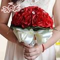Crystal Bridal Bouquet Burgundy Red Rose Fabric Artificial Durable Wedding Flower Bridesmaid Hand Flower