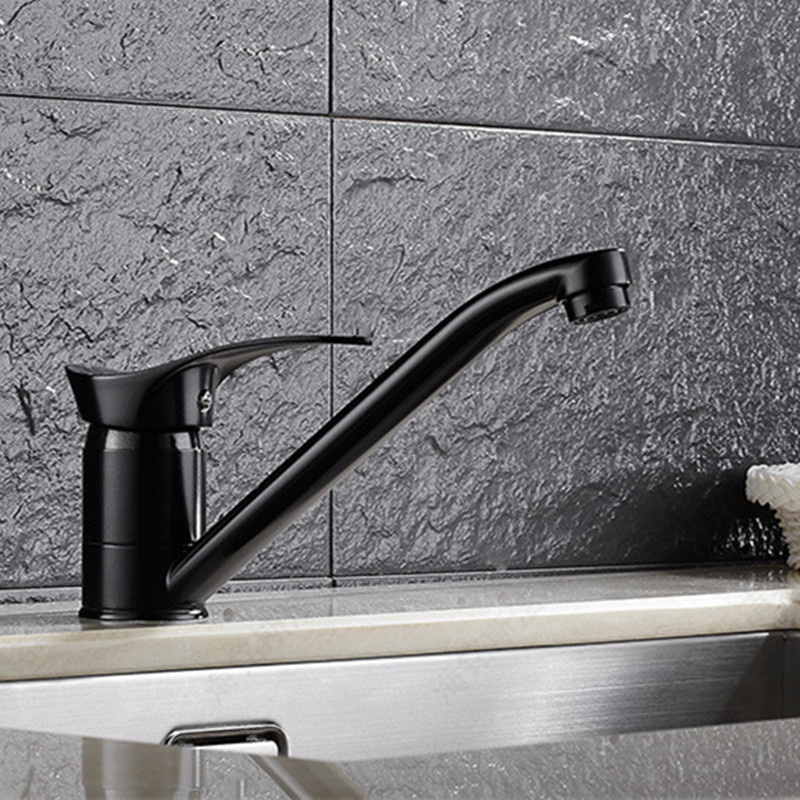Free shipping black color kitchen sink mixer tap with single handle kitchen faucet and solid brass