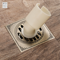 HIDEEP Square Brass Deodorant Bathroom Shower Floor Drain For Family Bathroom Special Floor Drain For Washing Machine