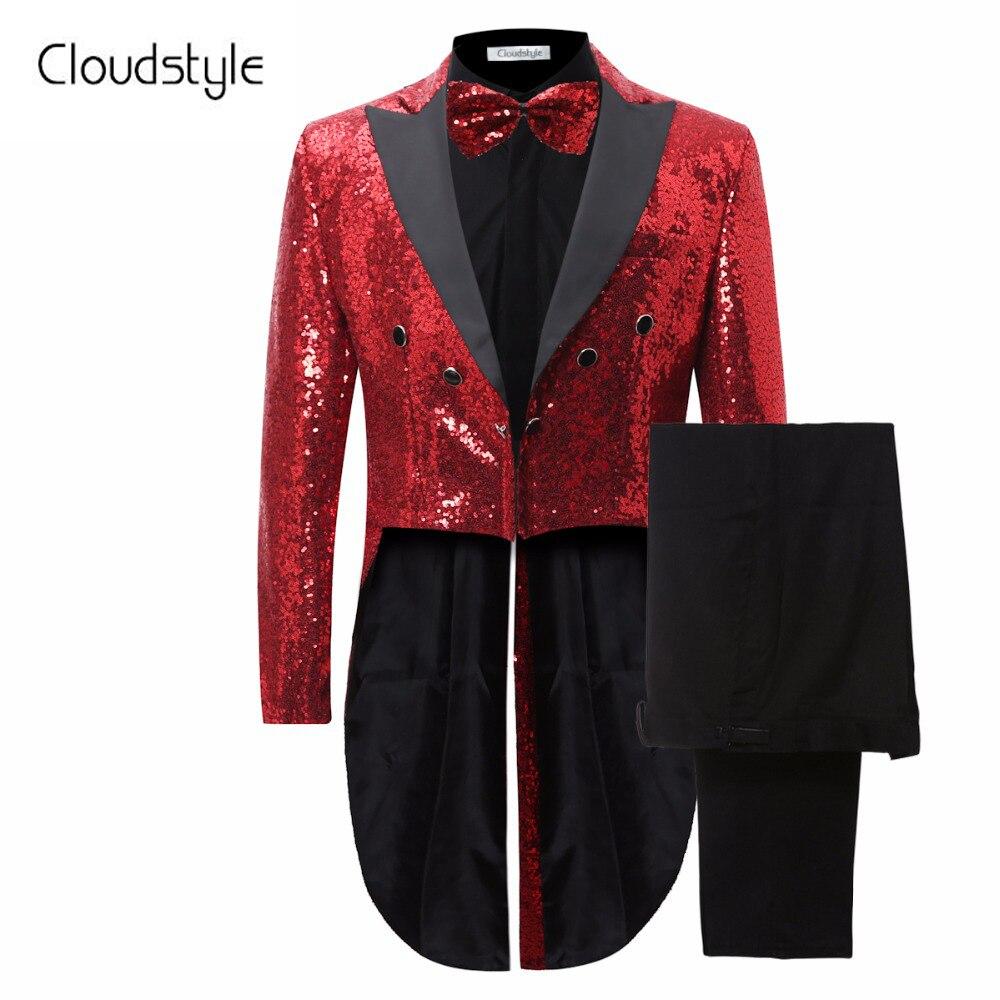 Rouge Paillettes 2018 Nouveau Design Longue Smoking Veste Mince Hommes Costume Ensemble pantalon Mens Costumes de Soirée Étape Formelle Robe Costume + Pantalon + Cravate