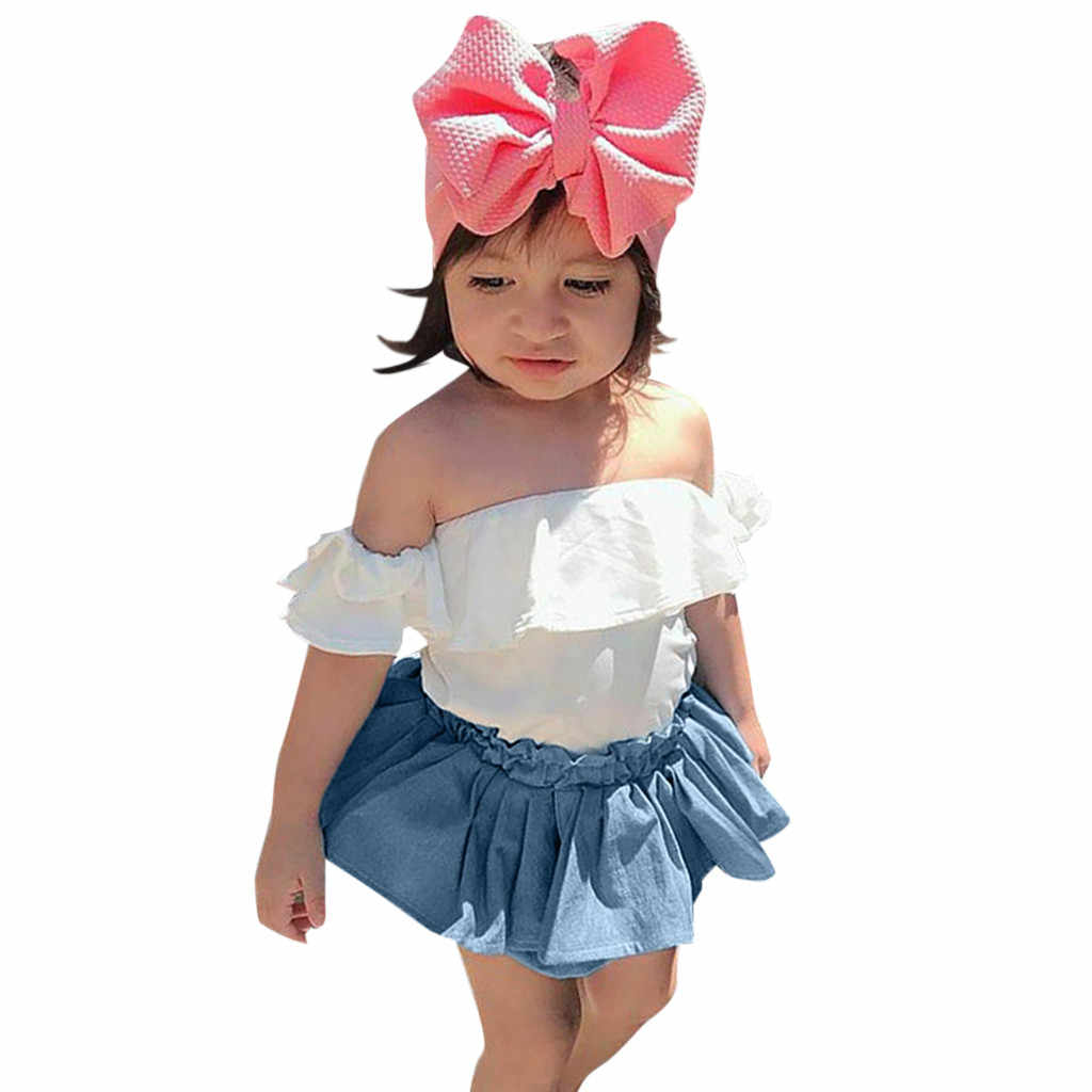 Toddler Baby Girls Sets Off Shoulder White Ruffles Tops+Blue skirt 2 Piece Child Clothes Kids Outfits 6 Months to 3 Years Suit 4