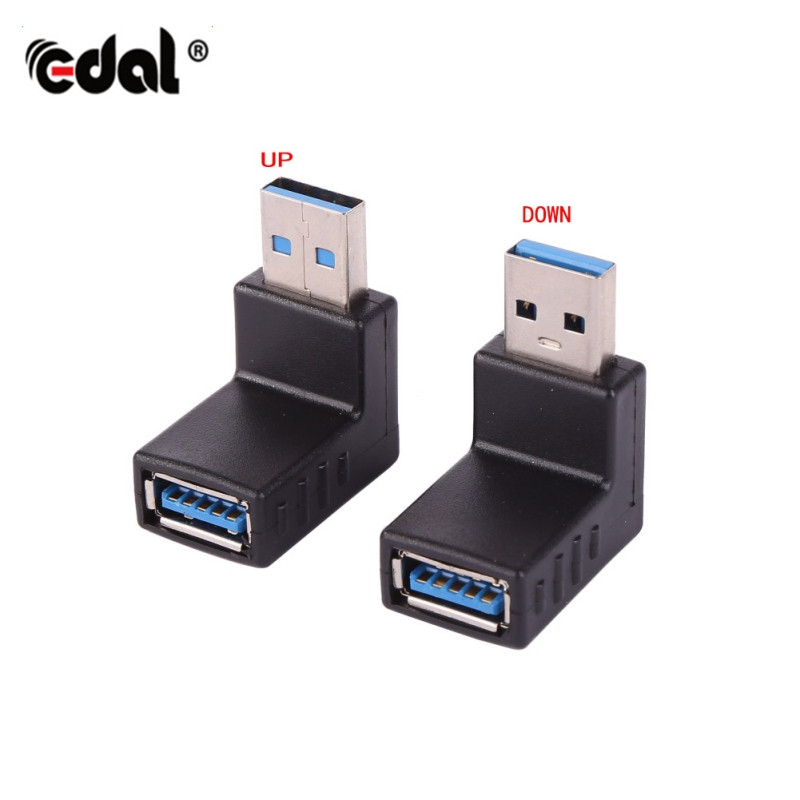 USB 3.0 Converter Adapter L Shape Male to Female 90 Degree Angle Plug Up Down Design For Laptop PC