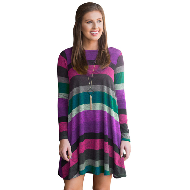 c5a57d5a4fb6 Women s Striped Tunic Color Block Long Sleeves Casual Swing Shirt Dress  with Pockets