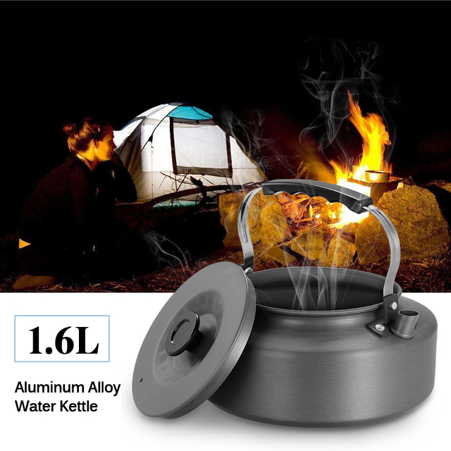 1.1/1.6L Matte Anodised Aluminum Portable Outdoor Kettle Coffee Pot Tea Pot for Camping and Survival 173g Ultra-light