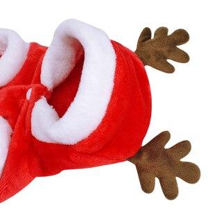 Image 3 - Świąteczne ubranka dla psów małe psy kostium mikołaja dla mopsa Chihuahua Yorkshire odzież dla kota kurtka płaszcz ubranie dla zwierząt domowych