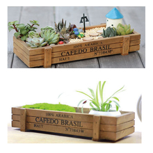 Garden Plant Pot Decorative Vintage Succulent Wooden Boxes Crates Rectangle Table Flower Gardening Device Bed