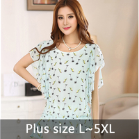 Summer Style Tropical Plus Sizes Chiffon Blouse Scoop Neck Print Bird Batwing Sleeve Women Tops O