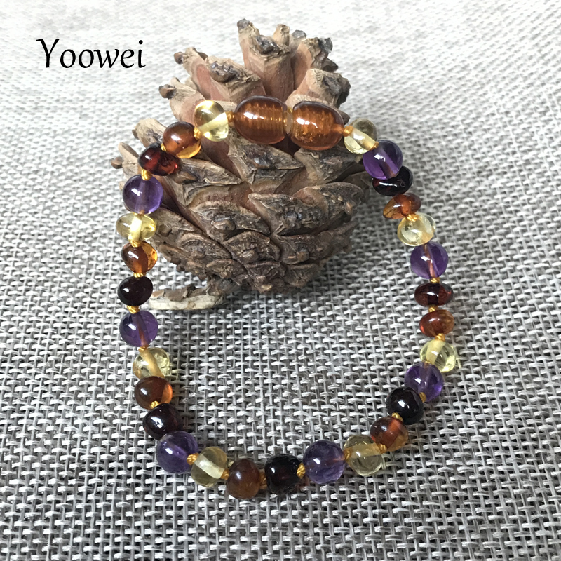 HTB1EFE3oRDH8KJjSspnq6zNAVXaO Yoowei 9 Color Baby Amber Bracelet/Necklace Natural Amethyst Gems Adult Baby Teething Necklace Baltic Amber Jewelry Wholesale