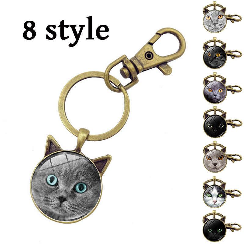 Fashion Gray Cat Face Time Gem Keychain Women Jewelry Antique Bronze Cat Ear Key Chain Pendant Key Ring 8 Style