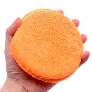 Image 3 - 10 pcs Suave Microfibra Aplicador de Cera Do Carro Almofadas de Polimento Esponja Remover A Cera Detalhamento Wash Limpa Cuidados de Pintura Cor Laranja