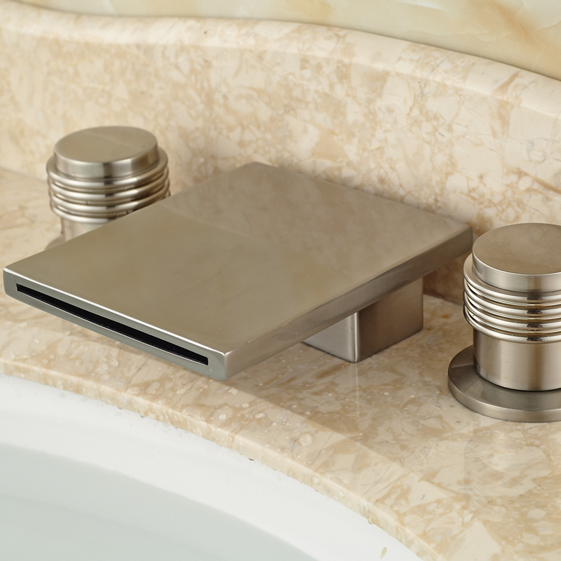 ФОТО New Arrive Brushed Nickel Hot and Cold Basin Faucet Dual Handle Widespread Basin Mixer Taps