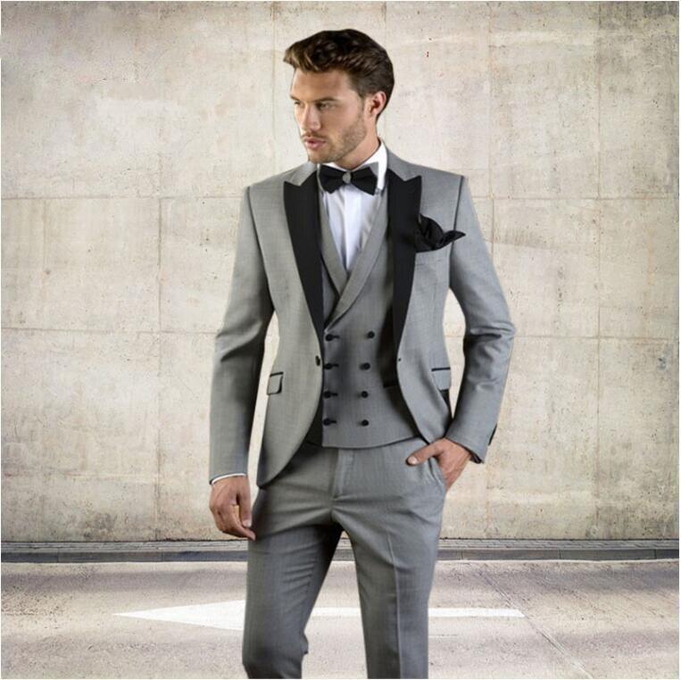 Grey Men Suit Slim Fit Jacket With Black Tuxedo Custom Made Blazer Wedding Groom Suits 2018 Wedding Groom (Blazer+Pants+Vest)