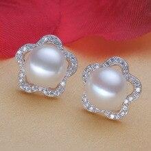Eternal wedding Women Gift word 925 Sterling silver real [100] bright pearl earrings natural charm fancy 10mm 11mm Genuine Fresh