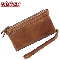 Women Brush Retro High Capacity Ladies Purse Long Vintage Leather Clutch Painting Wallet Zipper Coin Wallet Card Holder Ladies