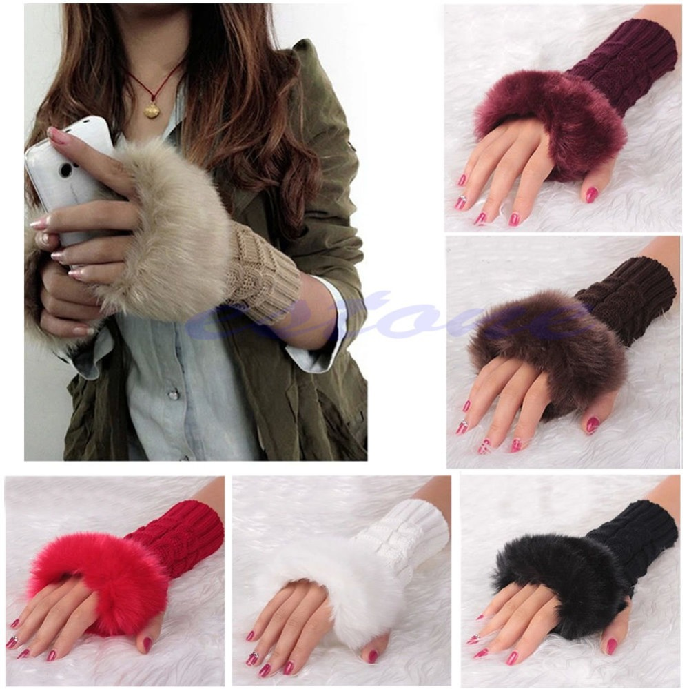 New Fashion Ladies Knitted Fingerless Winter Thermal Warm Hand Warmer Faux Rabbit Fur Mittens Luvas Gloves Women Long Gloves