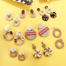 AENSOA New Arrival Korea Handmade Bamboo Braid Pendent Drop Earrings Multiple 2019 Fashion Rattan Weave Long For Womne