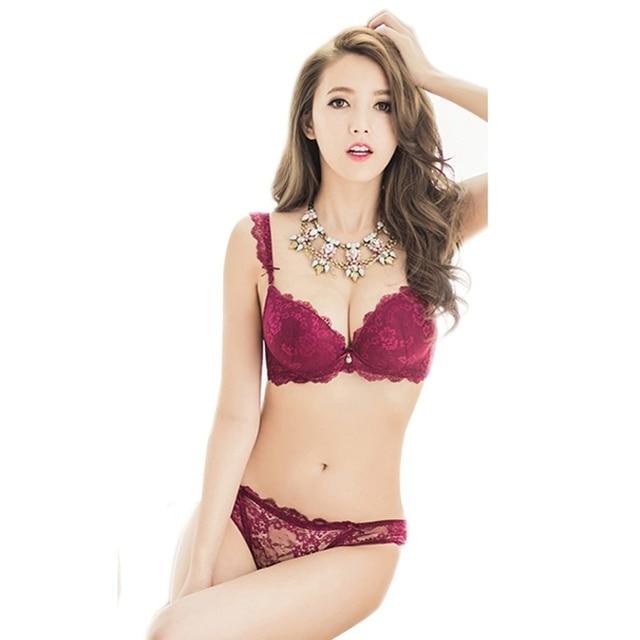 2b778b4c2 New Women Cute Sexy Underwear Deep V Lace Embroidery Bra Sets Plunge Bra +  Panty Size 32-36 B