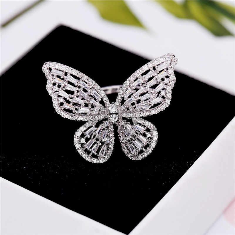 Luxus Schmetterling Ringe Für Frauen Retro Neue Legierung Engagement Hochzeit Party Weibliche Finger Ring Mode Schmuck anillos