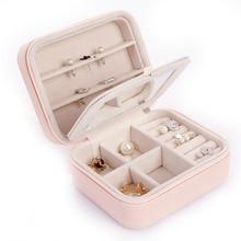 Portable Travel Jewelry Organizer Jewelry Box With Mirror Leather Necklace Storage Ring Box Bijoux Packaging Joyeros Display