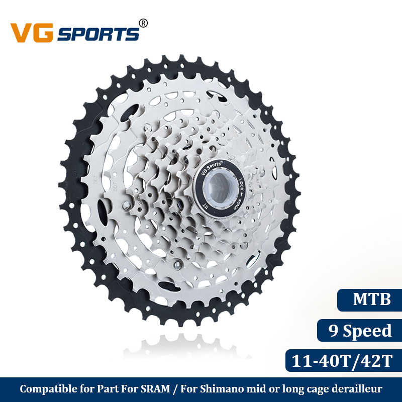 VG Sports Mountain Bike MTB 9 Speed Cassette 9 Velocidade 9S 40T 42T Bicycle Parts Cassete Freewheel Sprocket Cdg Cog Ultralight