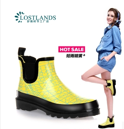 2015 nes Womens rain boots women short canister boots shoes water