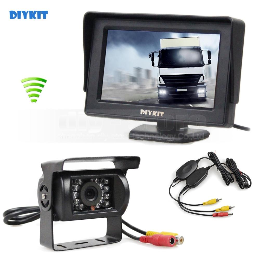 DIYKIT Wireless 4.3inch Car Monitor + Waterproof Rear View Backup Camera Parking Assistance System for Trucks Caravans Bus  Backup camera