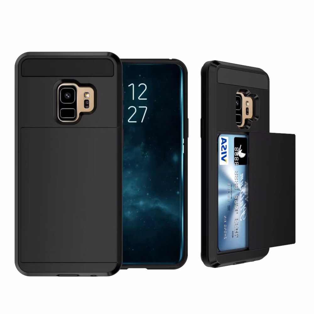 For Samsung Galaxy J4 J6 J8 2018 EU case Hybrid Armor Phone Case For J4 J6 Plus A8 Plus 2018 Slide Credit Card Slot Holder Cover