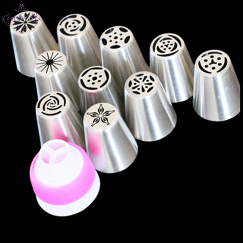 11PCS Stainless Steel Nozzles Russian Tip Pastry Tools Icing Piping Nozzles Cake Decorating Tools Fondant Confectionery  steel casing pipe