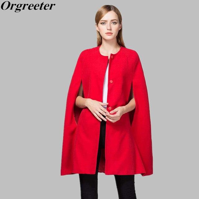a1183d13e3f30 European Runway Fashion 2018 Autumn Winter Women Red Cloak Woolen Coats  Female Elegant Long Cape Outerwear