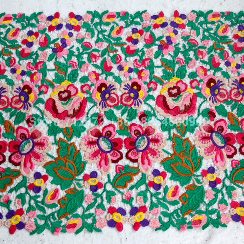 55cm 125cm width fashion show dress lace fabric rayon mixed color embroidered fabric by the yard