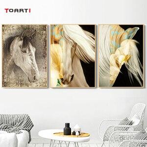 Image 2 - Tiere Wand Kunst Bilder Golden Horse HD Drucke Poster Moderne Lebendige Leinwand Malerei Für Wohnzimmer Schlafzimmer Dekoration