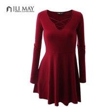 Jli может Сельма трикотажное платье осень розовые вечерние черный v-образным вырезом с длинными рукавами Вязание Хлопок Большие размеры повседневные трапециевидные мини-платья