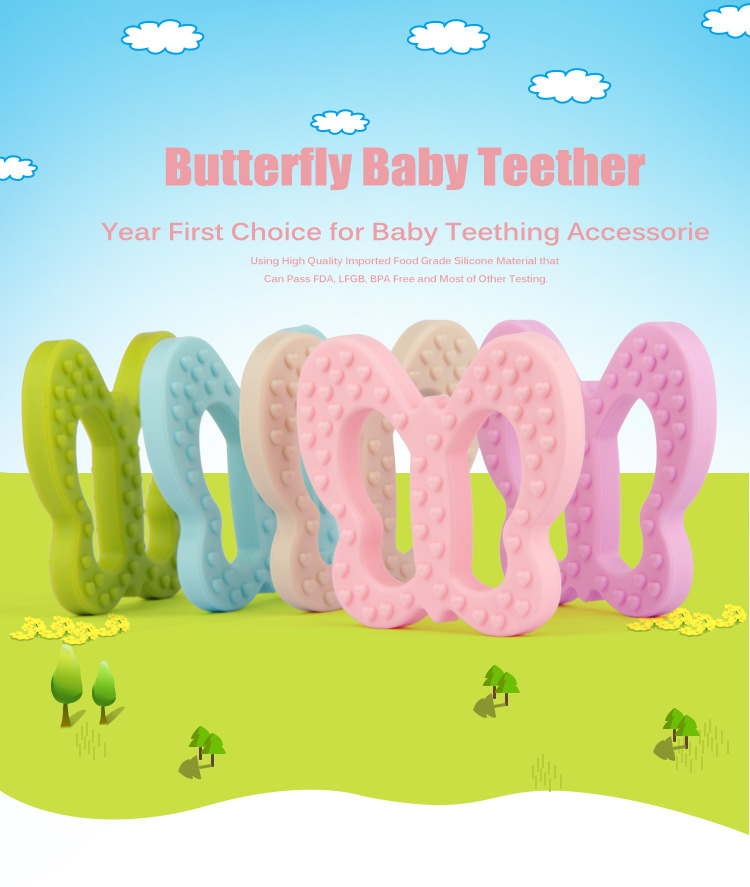 Купить с кэшбэком 20PCS BPA Free Safe and Natual Silicone Butterfly Teether Chewable Pendant Nursing Necklace Baby Dummy Teether