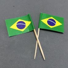 Мини 50 шт бразильские флаги для зубочистки бумажные пакеты для еды Шпажки для торта кекс Toppers фруктовые коктейльные палочки украшения зубочистки