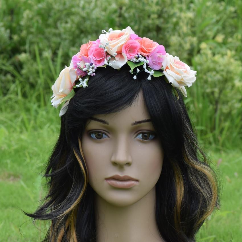 CXADDITIONS Handmade Rose Flower Crown Headband Woman Girls Wedding Party Hair Bride Bridesmaid Garland Tiara Headpiece
