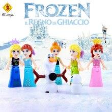 SL8922 Lainio Snow Village Princess Anna 6pcs/lot Building Block Minifigures Compatible with Legoe Brick Toy Christmas Gifts