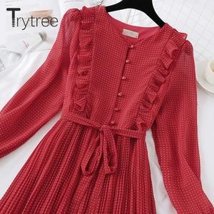 Image 4 - Trytree 봄 드레스 빈티지 도트 주름 여성 버터 플라이 슬리브 셔츠 드레스 벨트 Mid calf 제국 a 라인 Pleated Hem Dress