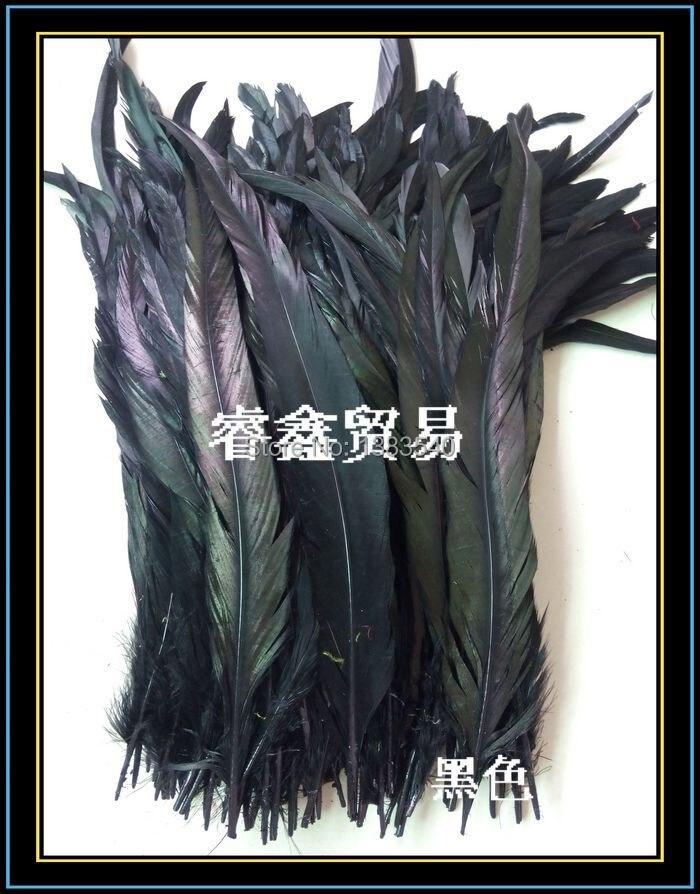 Оптовая продажа! 100 шт. Природный Петух хвост волос черный 30-35 см/12-14 дюйм(ов)
