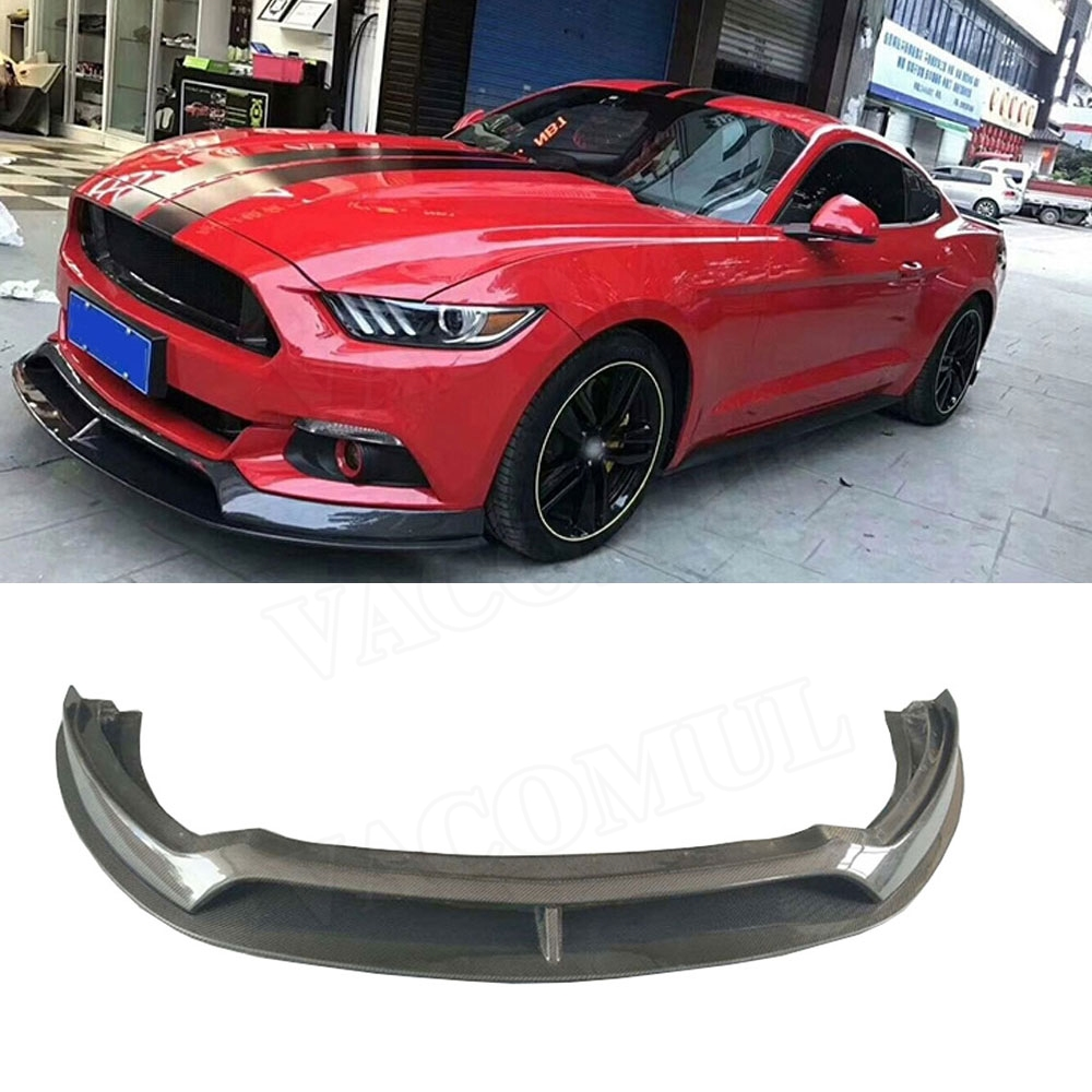 Front Lip Spoiler For Ford Mustang Coupe 2015 2016 2017 AC Style Carbon Fiber Head Bumper Chin Shovel Guard Car Styling