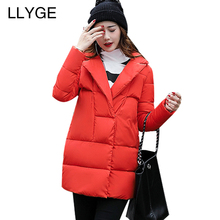 LLYGE Women Down Parka Thick Warm Winter Jacket Double Breasted Mid-Long Puffer Coat Solid Outerwear Jaqueta Feminina Inverno